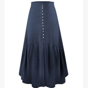 Heather Blue Front-Slit Midi Skirt